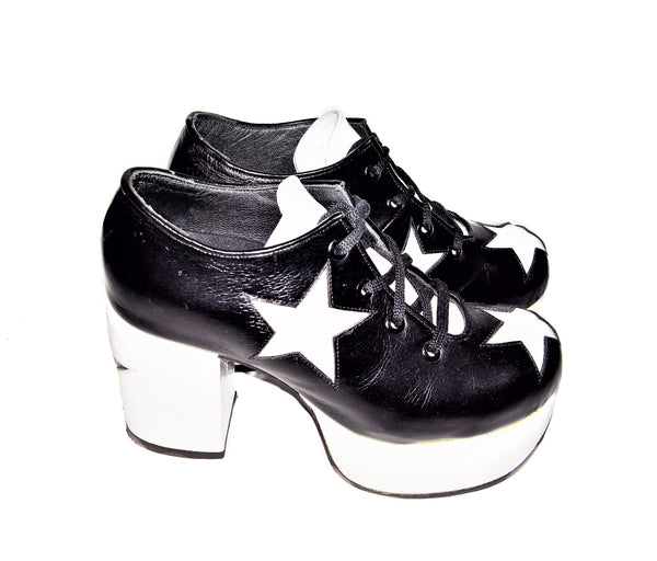 STARDUST Leather Platform Shoes in Black with White Stars and Platform