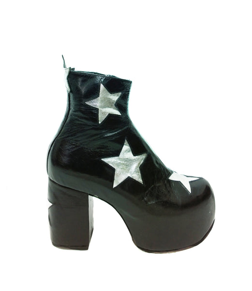 Stardust Platform Vegan or Real Leather Ankle Boots Black with Silver Stars Side View
