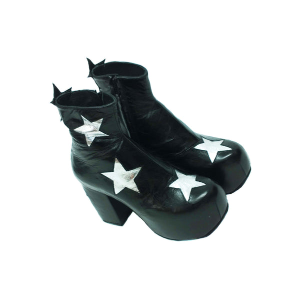Stardust Platform Vegan or Real Leather Ankle Boots Black with Silver Metallic Stars Top View
