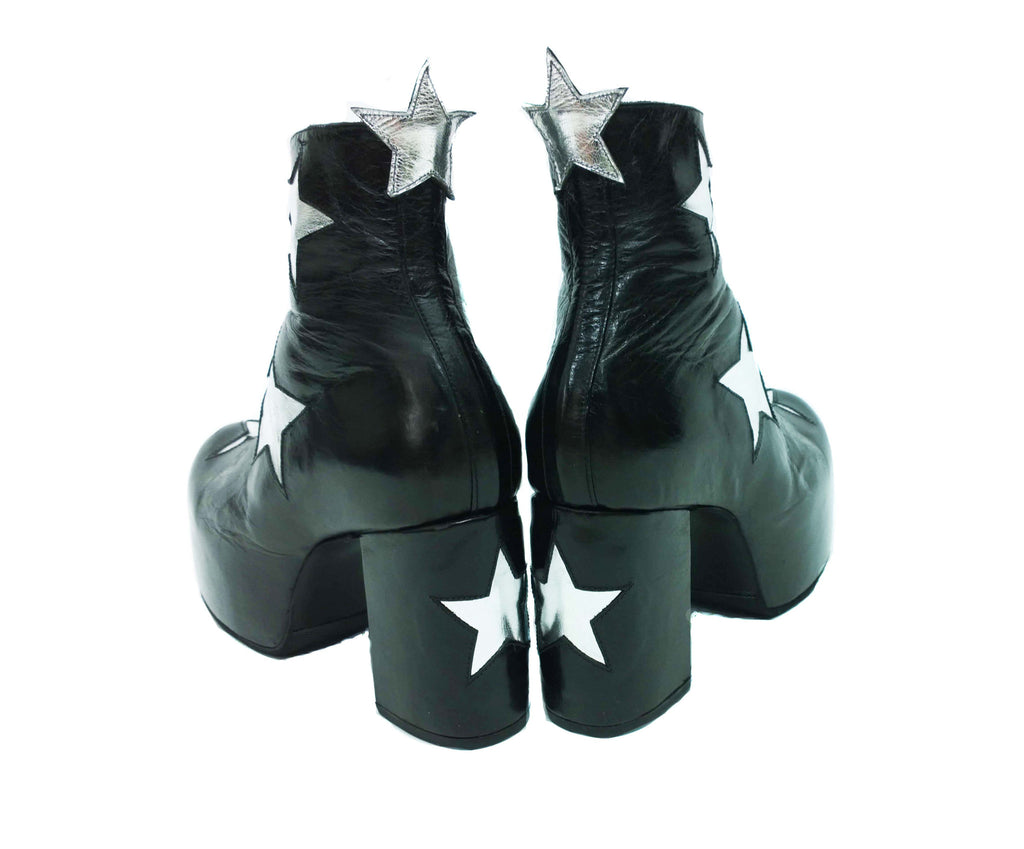 another chance speical offer excellent quality Vegan or Leather STARDUST Platform Ankle Boots Black with Silver ...