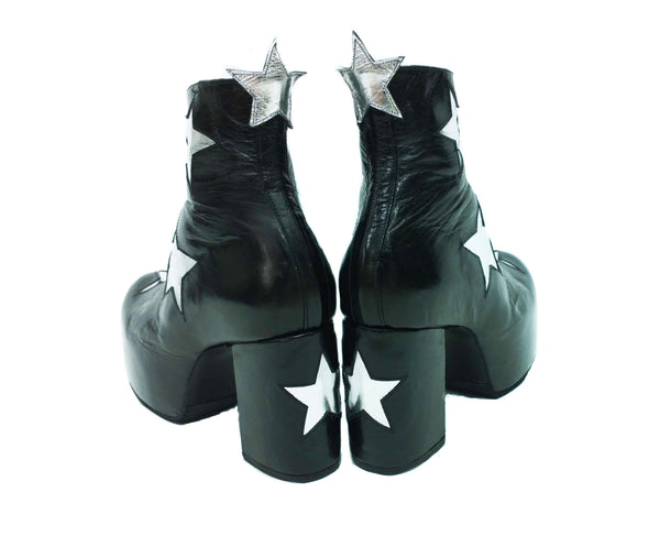 Stardust Platform Vegan or Real Leather Ankle Boots Black with Silver Stars Rear View