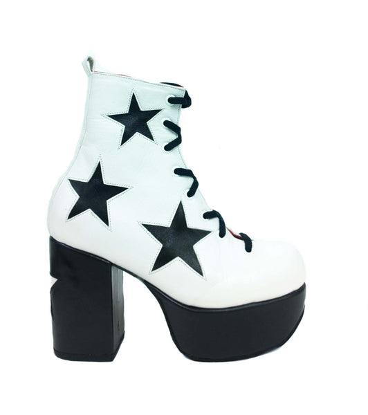 Stardust Platform Vegan or Real Leather Ankle Boots White Black Stars Side View