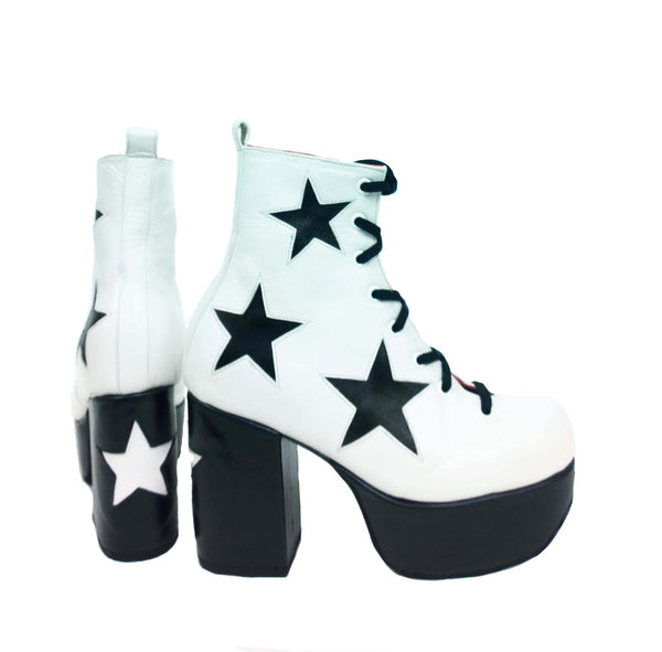 Stardust Platform Vegan or Real Leather Ankle Boots White Black Stars
