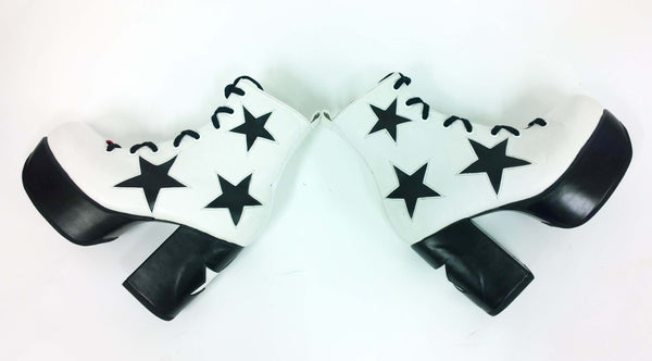 Stardust Platform Vegan or Real Leather Ankle Boots White Black Stars Pair