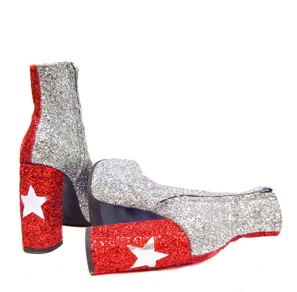 "STARDUST ""Harlequin"" Platform Ankle Boots in Red & Silver Glitter"