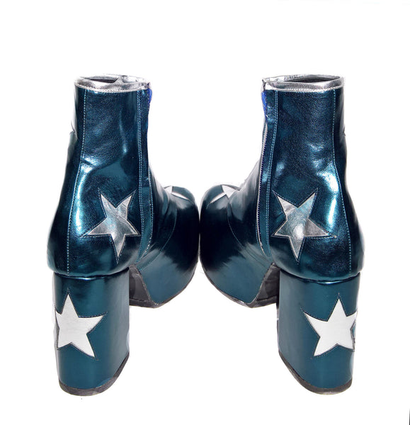 Vegan Stardust Metallic Teal Platform Ankle Boots with Silver Stars from the back