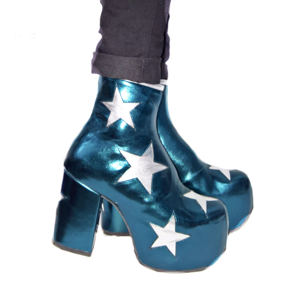 Wearing Vegan Stardust Metallic Teal Platform Ankle Boots with Silver Stars