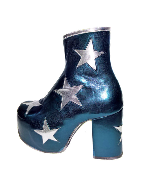 Vegan Stardust Metallic Teal Platform Ankle Boots with Silver Stars single shoe