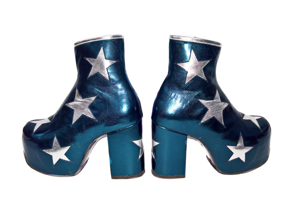 Vegan Stardust Metallic Teal Platform Ankle Boots with Silver Stars Pair