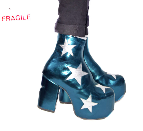 Vegan Stardust Metallic Teal Platform Ankle Boots with Silver Stars Press Shot