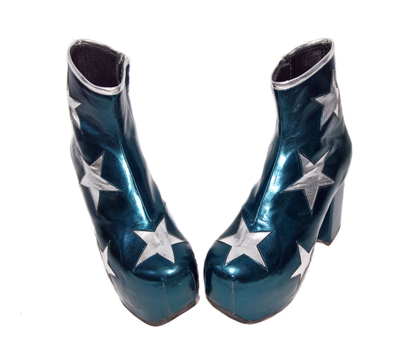 Vegan Stardust Metallic Teal Platform Ankle Boots with Silver Stars from the front