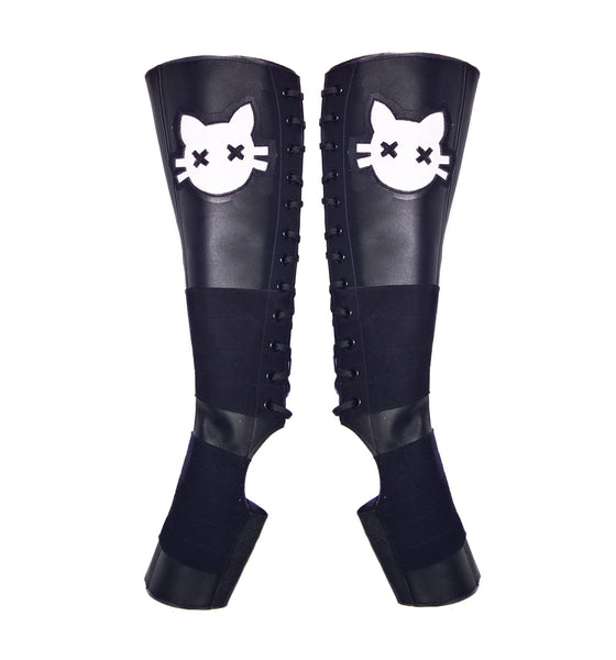 Black Aerial boots w/ White Cat face + Suede Grip
