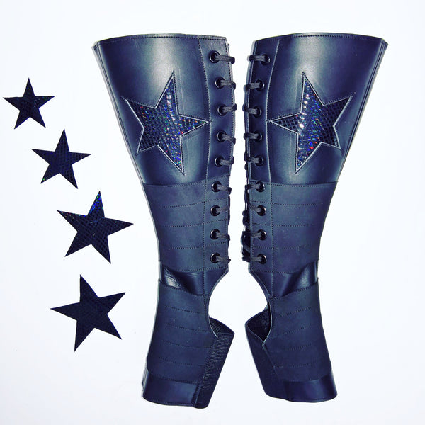Black Aerial boots w/ BLACK SHINY STAR + Suede Grip