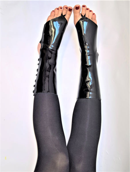 Black patent POLE DANCE & Aerial boots w/ TOE SLING
