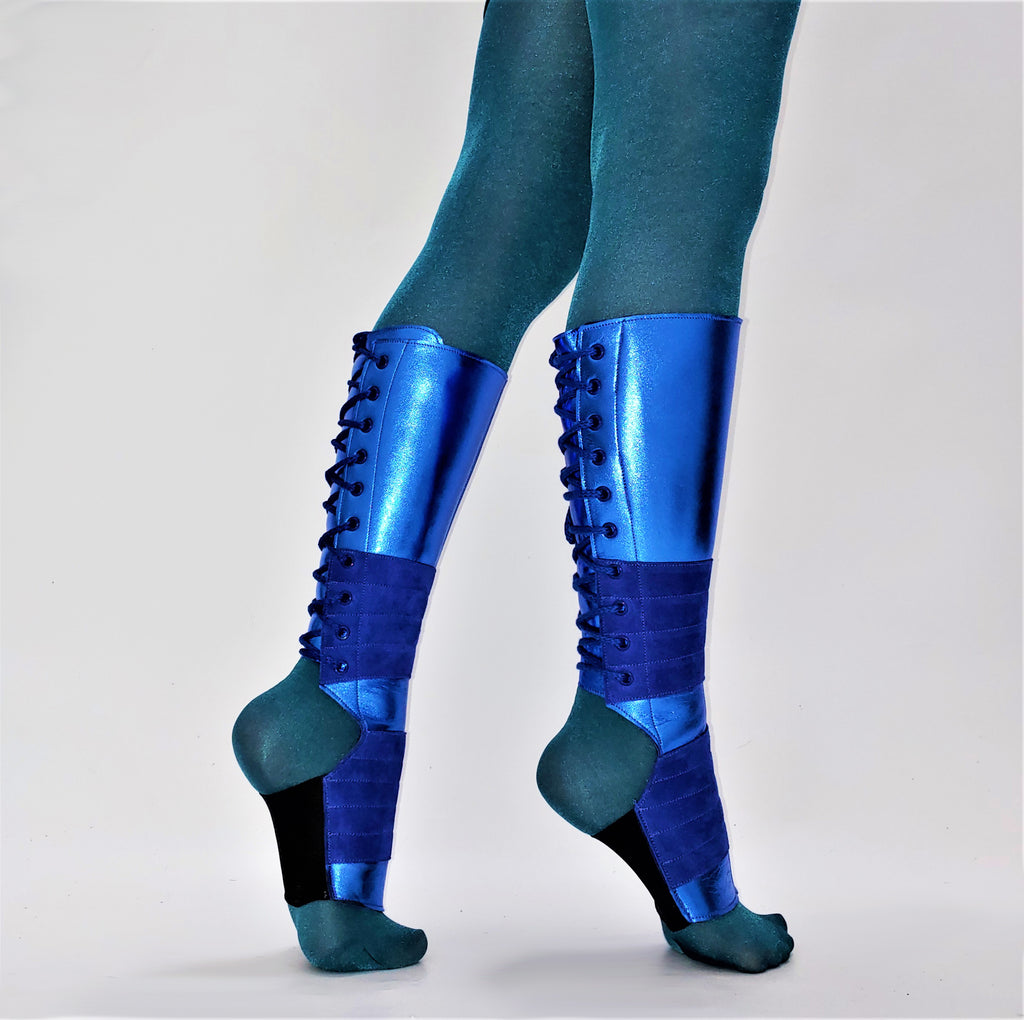 SAMPLE SALE - Blue METALLIC Aerial Boots w/Grip 2 Petite