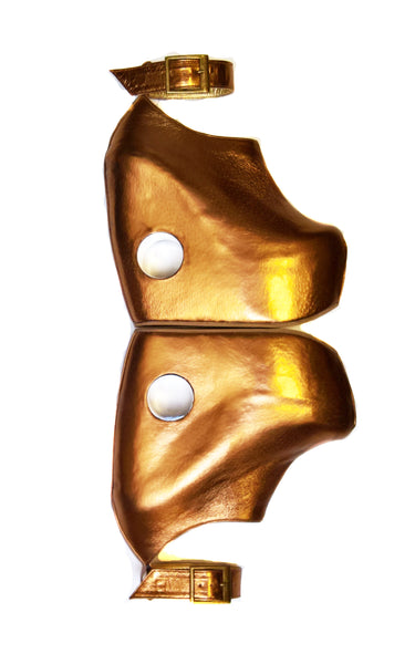 PEEPHOLE Platform Shoes - Bronze Leather & Perspex hole