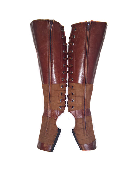 BROWN Leather Aerial boots w/ inside ZIP + Suede Grip