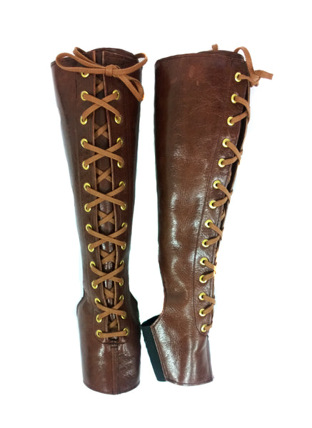 Front Lacing Brown Aerial Boots