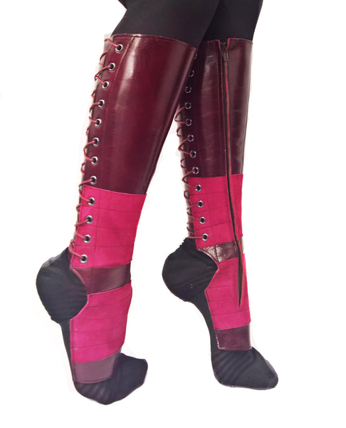 BURGUNDY Leather Aerial boots w/ inside ZIP + Suede Grip