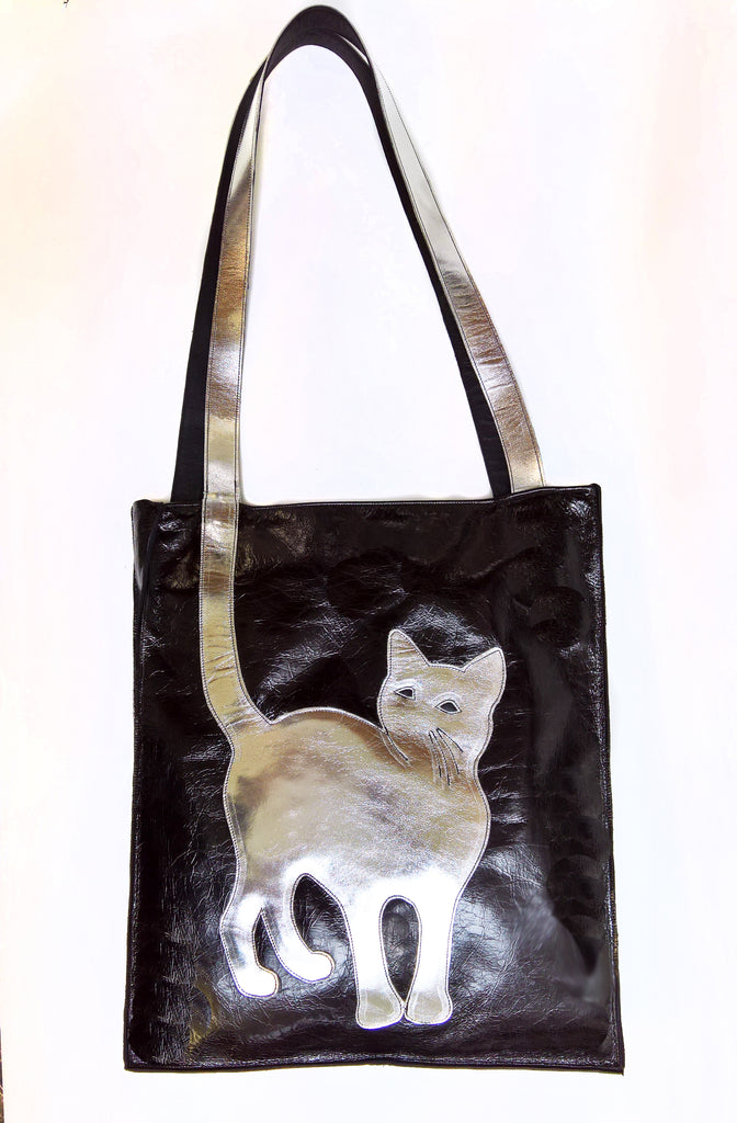 Black & Silver CAT Tote Bag
