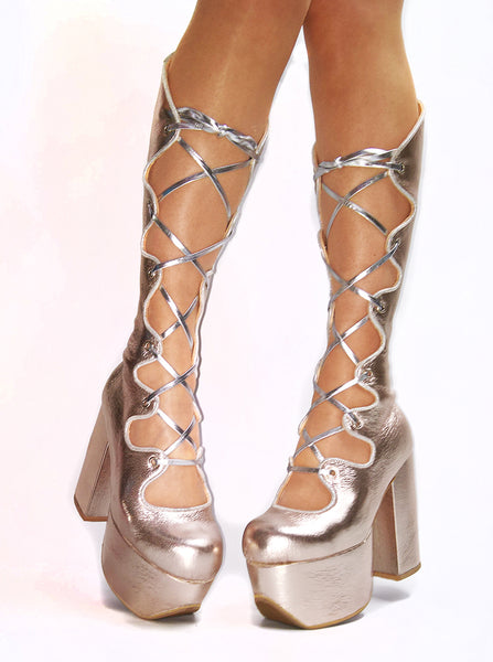 Curvy Lace-up Metallic Platform Boots