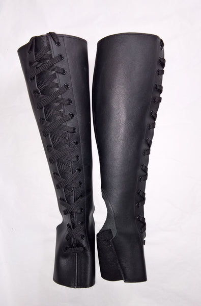 Front Lacing Black Aerial Boots