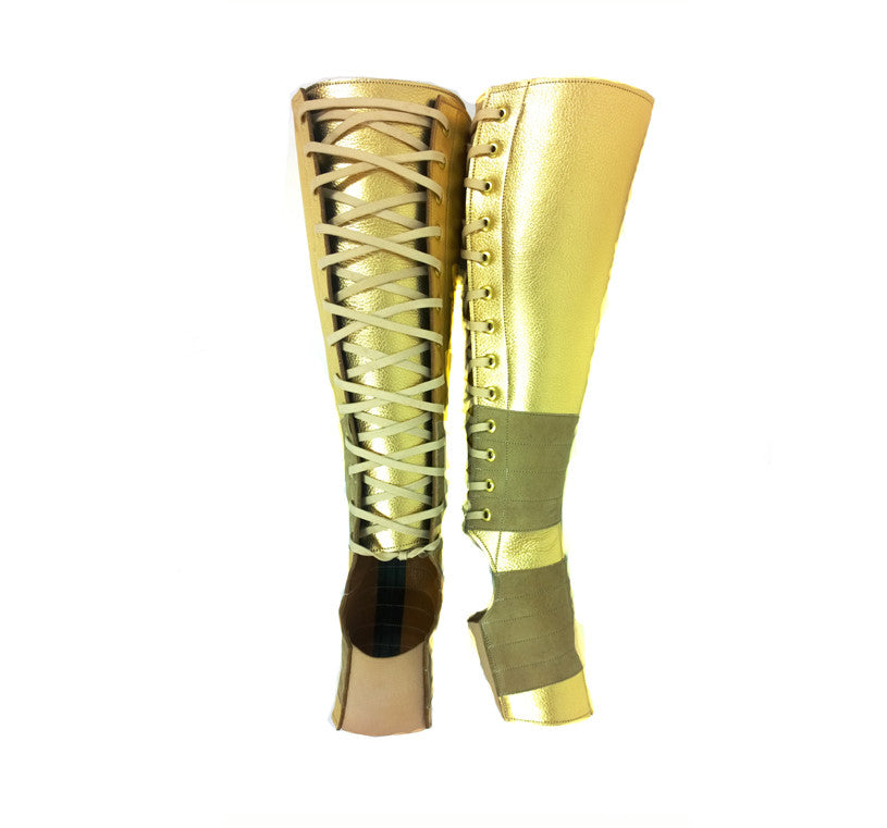 GOLD METALLIC Aerial boots w/ Suede Grip
