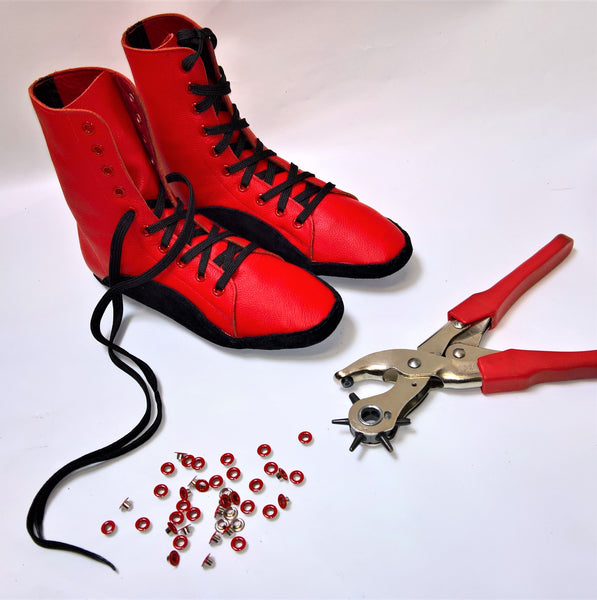 CUSTOM MADE Red Tightrope Boots w/ Black Sole