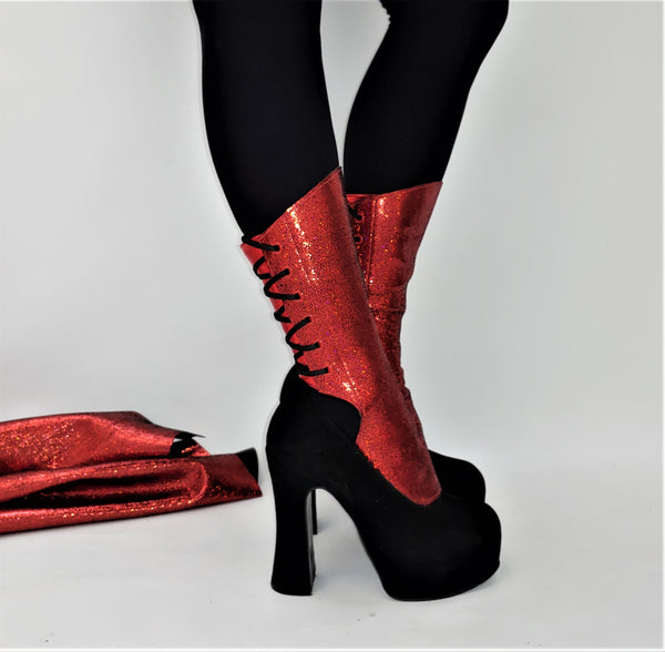 SAMPLE SALE - Red GLITTER Leather Gaiters *UNIQUE* Pair