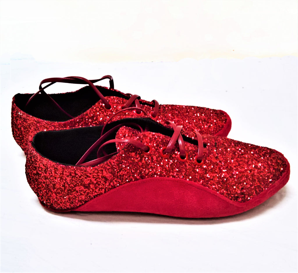"SAMPLE SALE - Red Glitter ""Dorothy"" Tightrope Shoes UK 4.5 /US 7"
