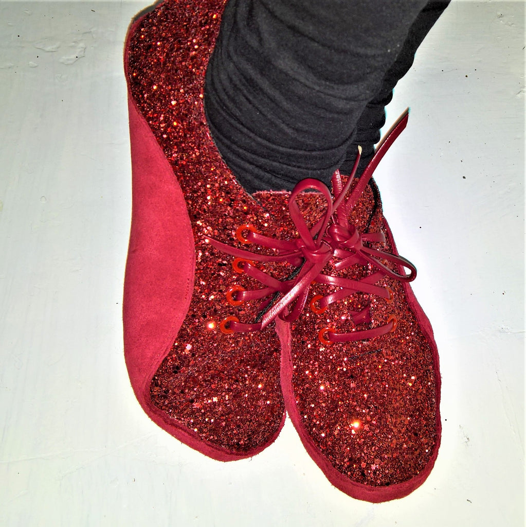 "Red Glitter ""Dorothy"" Tightrope Shoes"
