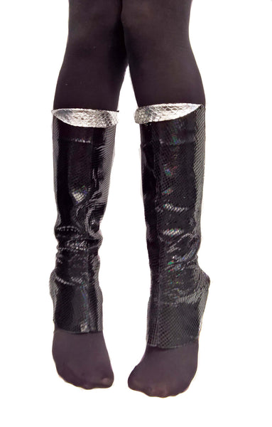 Black Reflective Snake Print Gaiters w/ inside Zip