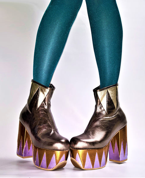 RINGMASTER Platform Ankle Boots - Multicolour