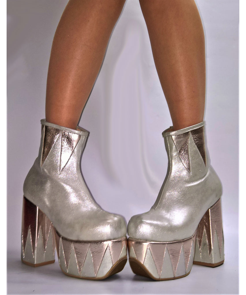 RINGMASTER Platform Ankle Boots - Silver & Champagne