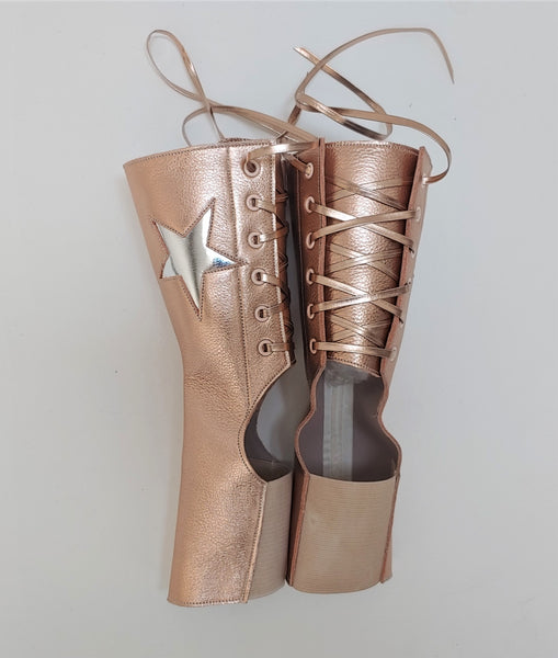 Short Aerial boots in ROSE GOLD w/ Silver STAR