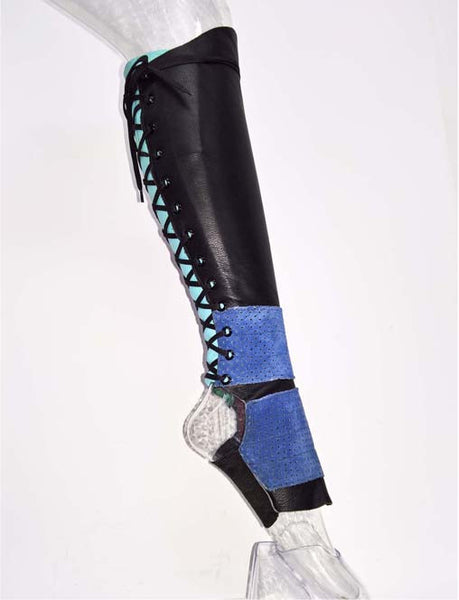 Black full length Aerial boots w/ ZIP, light Blue back & Blue suede panels
