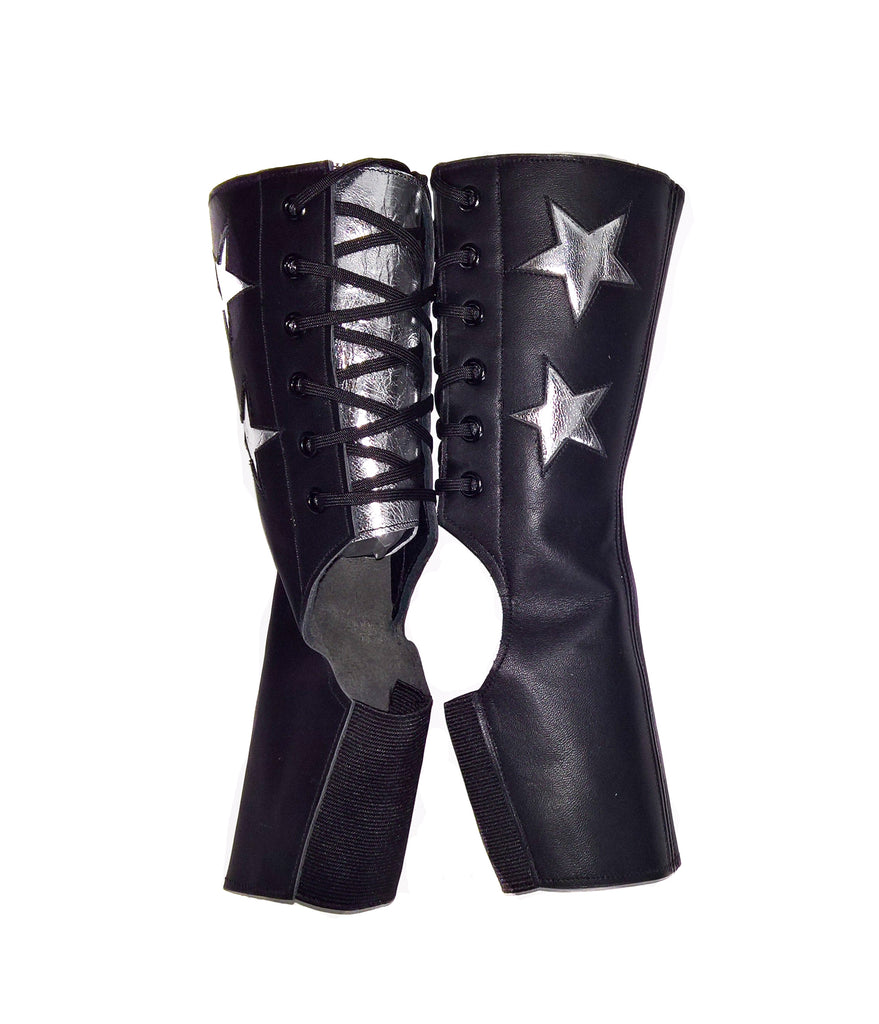 SHORT Black Aerial boots w/ 2 Silver Stars + back