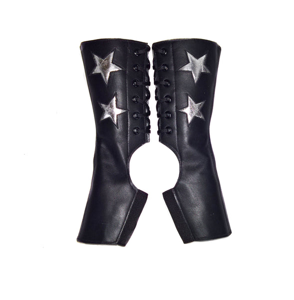 Short Black Aerial boots w/ SILVER Stars & Back