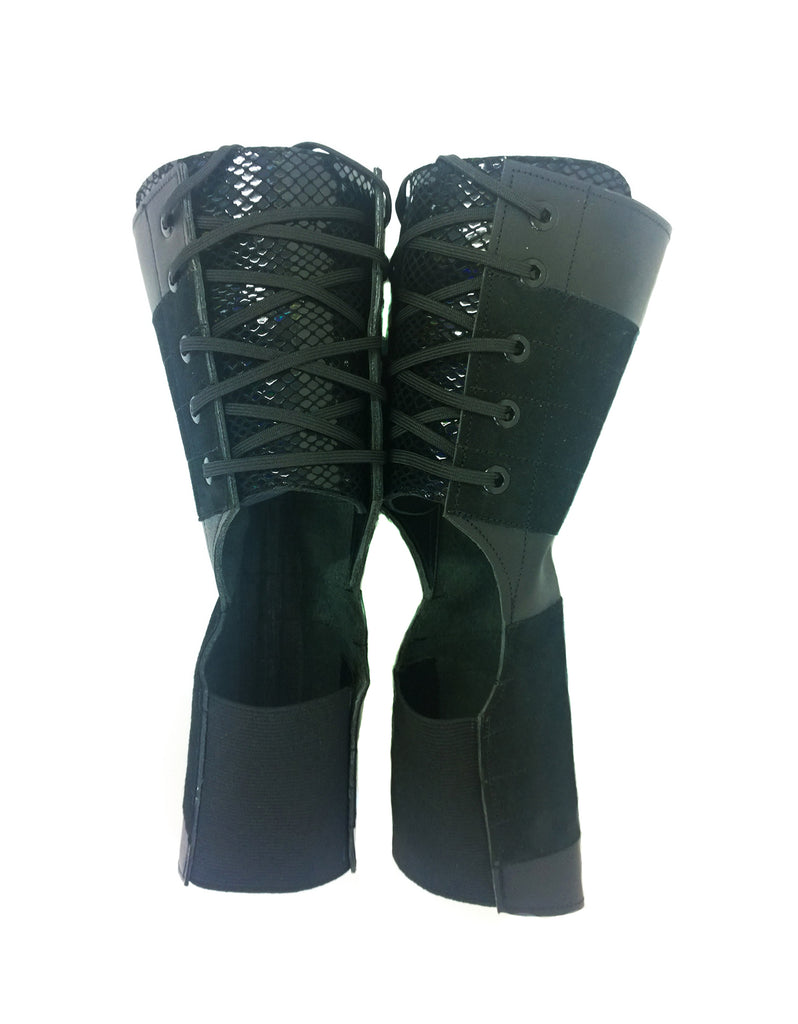 SHORT Black Aerial boots w/ Reflective Snake Print Back + Suede Grip