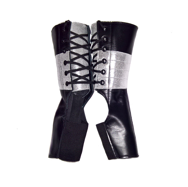Short Black Aerial boots w/ SILVER Suede panel & Back