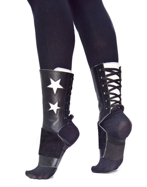 SHORT Black Aerial boots w/ White Stars + Grip Panel