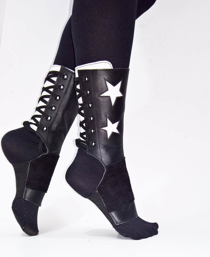 Short Black Aerial boots w/ White STARS and Back panel