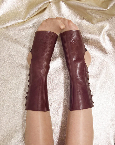 Short Chestnut BROWN Leather Aerial boots