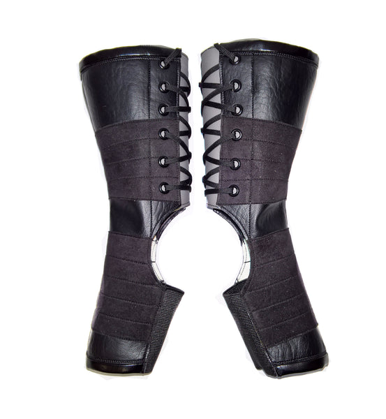 Short VEGAN Black Aerial Boots w/ GREY Back + grip panels