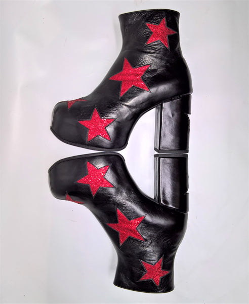 STARDUST Platform Ankle Boots - Black with Red Stars