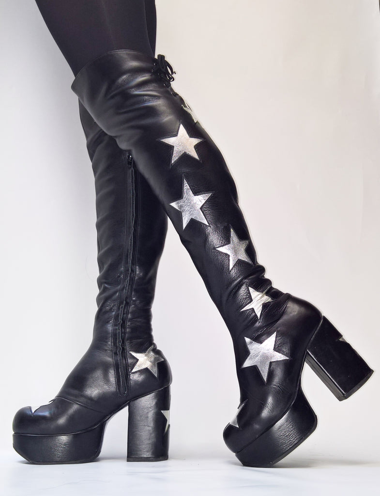 STARDUST Platform Overknee Leather Boots in Black with Silver Stars
