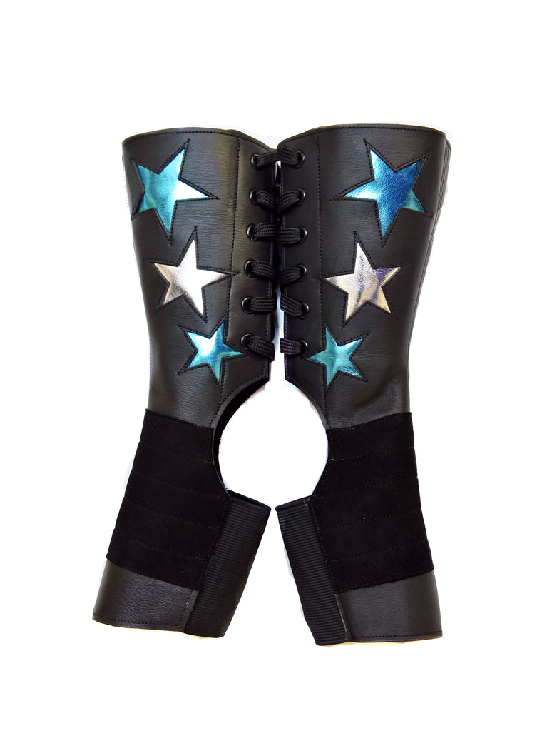 Short Stardust Aerial boots w/ Silver & LIMITED EDITION Blue Metallic Stars + Grip Panel