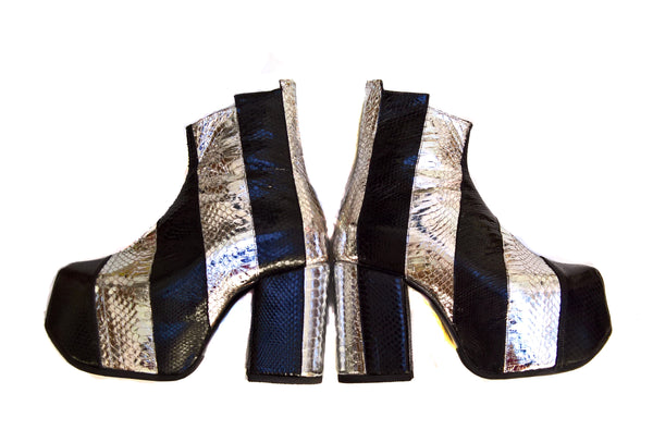 Striped Snakeskin Glam Boots