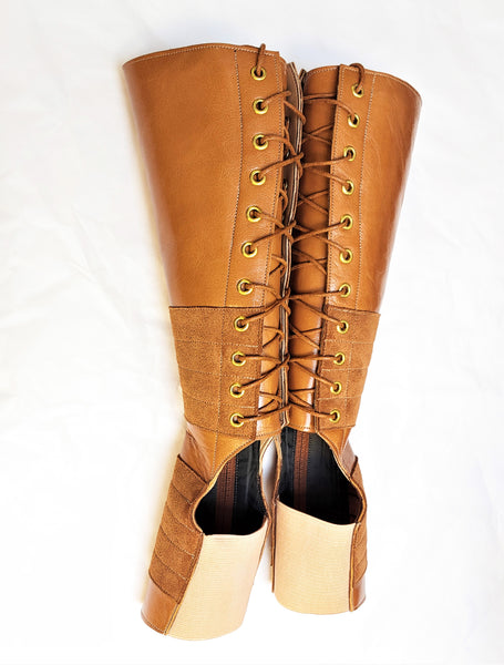 TAN Leather Aerial boots w/ inside ZIP + Suede Grip