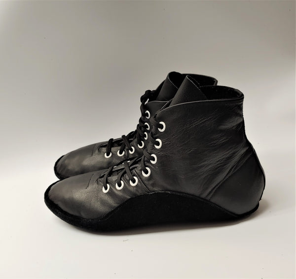 SAMPLE SALE - Black Tightrope Ankle Boots w/ WHITE eyelets UK 6 /US 8